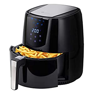 PureMate 4.2L Digital Air Fryer Oil Free Healthier Low Fat Fryer with Timer and Adjustable Temperature Control – 1400W Cooker Food Oven – Recipe Book Included