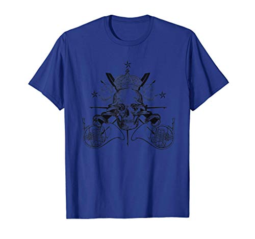 French Horn, Snake, Rose and Skull Tattoo T-Shirt