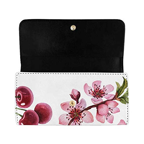 INTERESTPRINT Women's Trifold Clutch Wallets Watercolor Cherry Blossom Long PU Leather Clutch Bag
