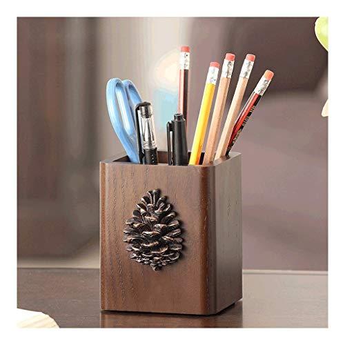 Porta bolígrafos de madera porta bolígrafos de escritorio bolígrafo y lapicera de madera taza de almacenamiento porta bolígrafos de escritorio soporte taza marrón papelería acabado Almacenamiento de p