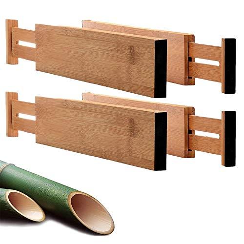 Gxklmg 4 Paquetes de divisores de cajones de bambú (17.71'-21.04'), separadores Ajustables y ampliables con Resorte Cargado para Cocina, Dormitorio y Oficina