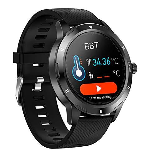 FMSBSC Smartwatch Reloj Inteligente para Hombres Mujeres con Monitor de Temperatura Frecuencia Cardíaca presión Arterial Sueño Notificaciones de Mensajes, Reloj Compatible con iOS Android,A