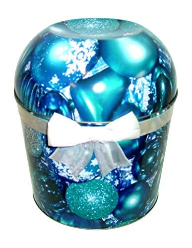 Review Blue Christmas Ornament Popcorn Tin 1.75 Gallon Pick Your Flavor (Caramel)