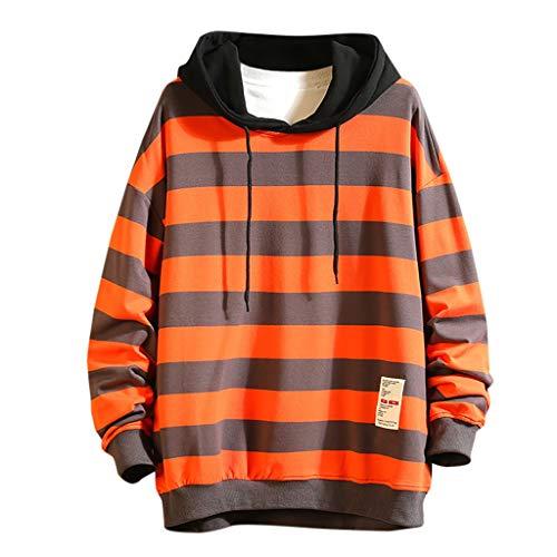 SSUPLYMY Casual Sweatershirt Für Herren Mode Streifen Drucken Hoodie O-Ausschnitt Langarm Freizeit Pullover Winter Warm Mantel