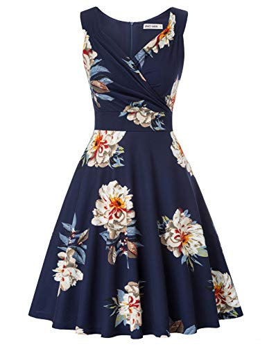 Women's 1960s Style Floral Evening Party Dress Swing Dress Size M CL2811-1