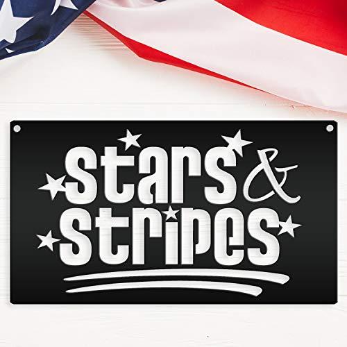 DKISEE SpFa2097 - Letrero de metal americano con diseño de estrellas y rayas, para colgar en la pared, decoración de la sala de estar, dormitorio, cocina, puerta, jardín, 24 pulgadas, SpFa2097