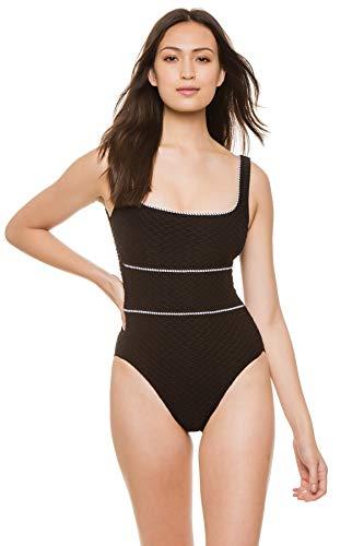 Paula Swimwear Women's Textured Over The Shoulder One Piece Swimsuit Black/White S
