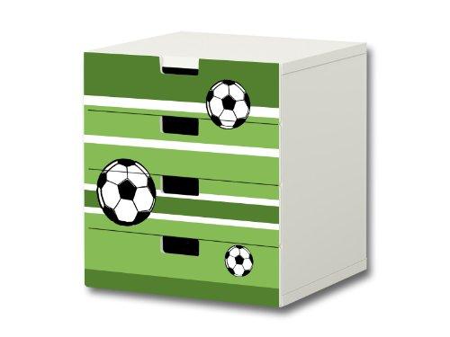 Stikkipix Fußball Möbelsticker/Aufkleber - S4K10 - passend für die Kinderzimmer Kommode mit 4 Fächern/Schubladen STUVA von IKEA - Bestehend aus 4 passgenauen Möbelfolien (Möbel Nicht inklusive)
