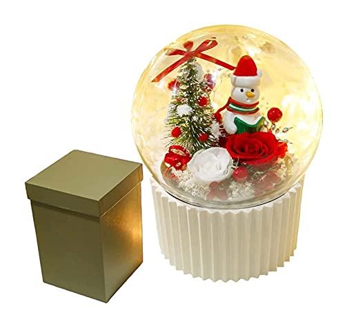 Navidad Rose Santa Claus Music Box, Flor de Navidad conservada Real Rose en la caja musical de la cúpula de cristal, regalo for sus mujeres en el Día de la Madre, Día de San Valentín, Cumpleaños