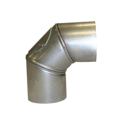 Kamino Flam Bogenknie silber mit Tür, Winkel von 90°, Abgasrohr aus feueraluminiertem Stahl, rostfreier Rohrbogen, geprüft nach Norm EN 1856-2, Durchmesser: ca. 150 mm
