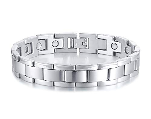 PJ JEWELRY Stainless Steel Magnetic Field Therapy Wristband Classic Link Bracelet Pain Relief for Arthritis and Carpal Tunnel for Men