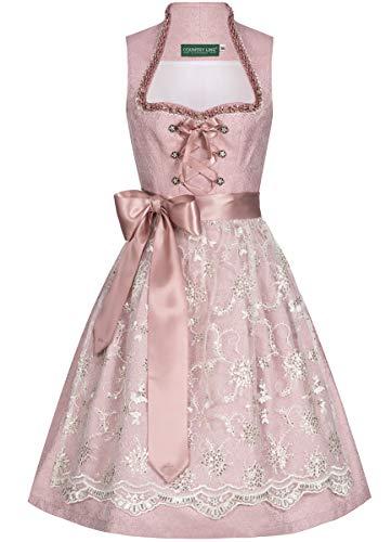 Country-Line Damen Trachten-Mode Midi Dirndl Vally in Rosa traditionell, Größe:34, Farbe:Rosa