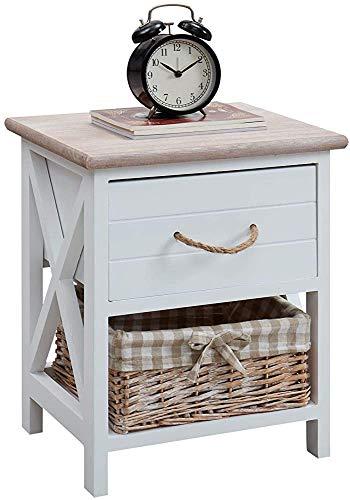 Compartimento de la unidad de almacenamiento abierto con una cesta de mimbre cajón de mesa de noche blanco antiguos originales acomoda una cesta,White