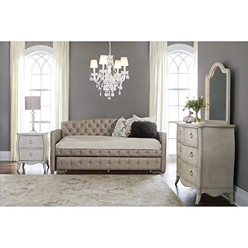 Hillsdale Memphis Faux Leather Tufted Daybed in Pewter