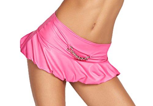 Damen Dessous Gogo Mini Rock in pink aus Wetlook Material mit Kette L