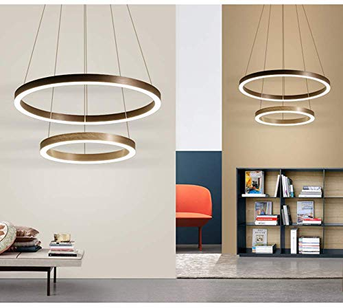 JALAL LED Dimmable Chandelier, Acrylic Metal Circular Ring Pendant Light, Suitable for Living Room, Bedroom