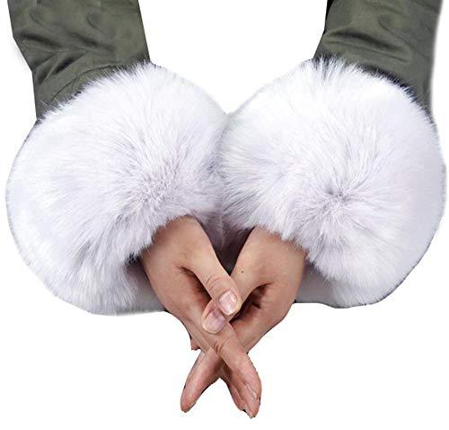Cheerlife Damen Mädchen Faux Fell Pelz Armstulpen Stulpen Manschetten Fellstulpen Handschuhe Herbst Winter (Grau, One size)
