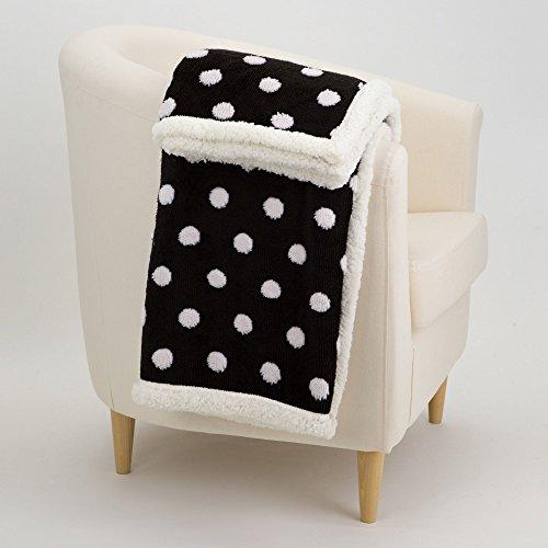 Daunex Plaid Punkte schwarz weiß 130x 160cm Decke mit Behälter Geschenk