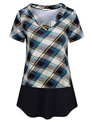 Bebonnie Womens Causal Short Sleeve Shirt V Neck Button Down Blouse Loose Flowy Tunic Tops