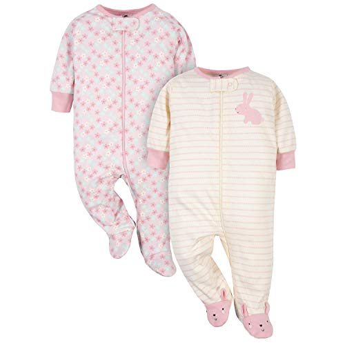 Gerber Baby-Mädchen 2-Pack Organic Sleep \'N Play Kleinkind, Schlafsack, Pink Bunny, 6-9 Monate