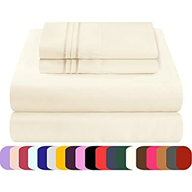 Mezzati Luxury Bed Sheet Set - Soft and Comfortable 1800 Prestige Collection - Brushed Microfiber Bedding (Ivory, King Size)