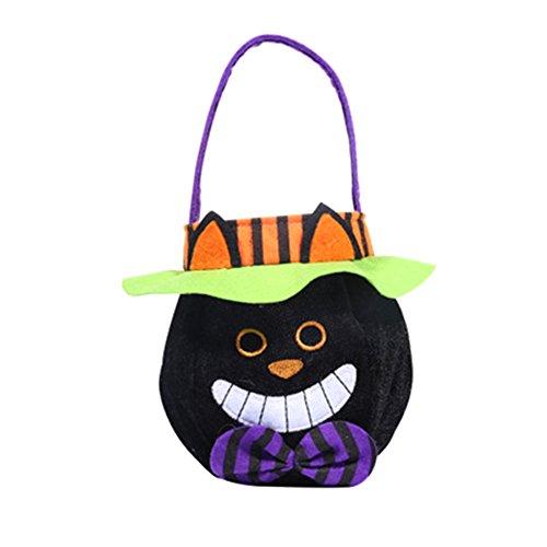 Treestar Halloween-Leckerlibeutel Süßigkeiten Süßigkeiten Handtasche leer Geschenk Tote Bag Hut Tuch Container für Süßigkeiten Buffet Party Dekoration, Stoff, Style 2, 26 x 15 cm