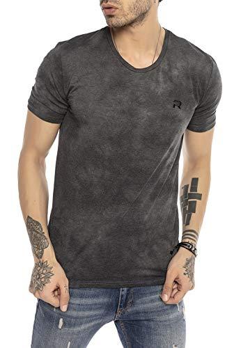Redbridge T-Shirt da Uomo a Manica Corta in Stile Batik Anni 90 Grigio L
