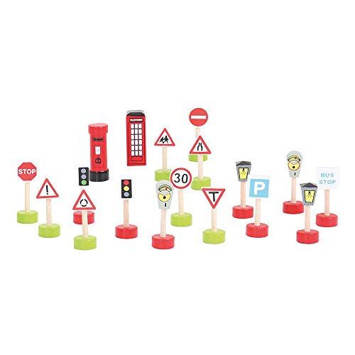 Bigjigs Rail Lot de Panneaux de signalisation – Route et Chemin de Fer