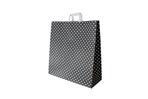 Papiertragetaschen mit Flachhenkel Punkte SCHWARZ - Verschiedene Größen und Mengen (45 + 17 x 47 cm, 50 Stück)