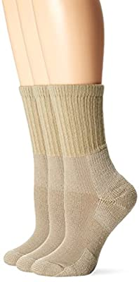 Thorlos Women's KX Hiking Thick Padded Crew Sock, Tan (3 Pack), Medium