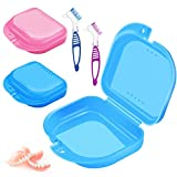 2 Cajas de Retención Rosa y Azul Estuche de Retención Protector Bucal Caja de Prótesis Retenedora y 2 Cepillos de Dientes para Dentaduras para Cuidado Bucal Almacenamiento de Dentaduras