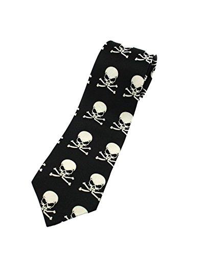 Cravate tendance avec motif de tête de mort et os croisés de Zac's Alter Ego