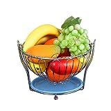 O&YQ Cesta de Fruta Cesta Colgante Soporte de Fruta, Cesta de Almacenamiento de Tortas de Bocadillos Grandes de Acero Inoxidable, Soporte de Exhibición de Fruta/Verdura de Hamaca, Segundo
