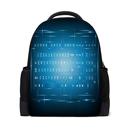 Nuansexi School Laptop Computer Backpacks Virtual Shiny Computer Keyboard Student Girl Boy 11 inch