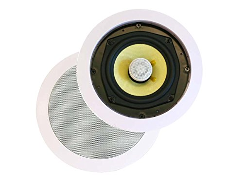 Monoprice 2 Way in-Ceiling Speakers - 8 Inches (Pair) with Concentric Mid/Highs, Aramid Fiber Cone Driver & Titanium Silk Dome Tweeters - Caliber Series