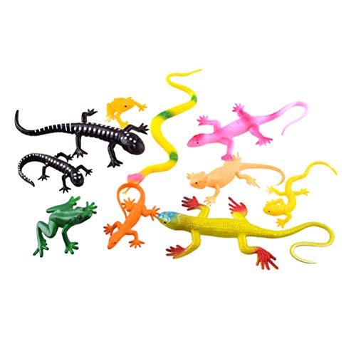Toyvian Lagartija de Goma Realista Serpientes y Ranas Juguetes Figuras de plástico de Animales Figuras Juguetes educativos para niños niños pequeños 10pcs