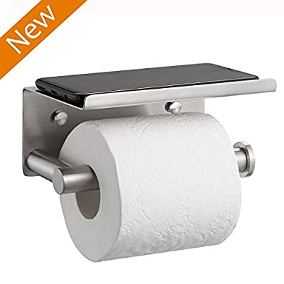 ALHAKIN Toilet Paper Holder, 304 Stainless Steel Toilet Paper Roll Holder with Shelf, Wall Mounted Toilet Tissue Holder for Bathroom, Brushed Finish