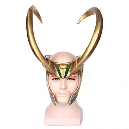 Avengers Thor 3 Rocky Loki Helm cos Hut Maske Requisiten Cosplay Halloween Kostüm, Maskerade-Weihnachtsparty-Partei-Stab-Kostüm Props (Farbe : Gold, Größe : 60-63cm)