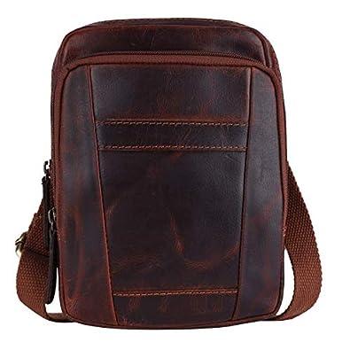 PICCO MASSIMO Genuine Leather Men/Women Sling Bag   3 Zipped Pockets   1 Open Pocket Sleeves   Zip Closure   Adjustable Cotton Shoulder Stap