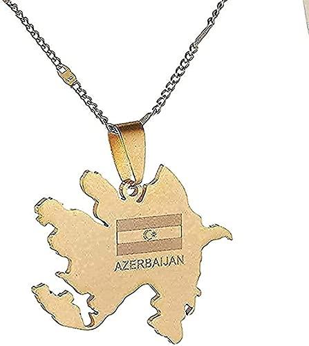 LBBYLFFF Collar Collar de Acero Inoxidable Tarjeta de Azerbaiyán Collares Pendientes Regalos de Joyería de Tarjeta de Azerbaiyán