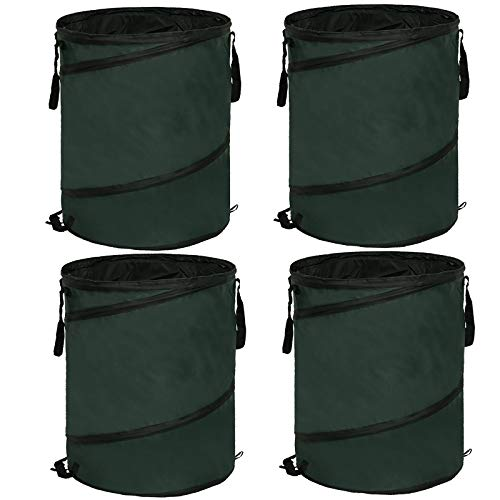 4er Set Pop-up Gartensäcke 85L aus robustem Polyester Oxford 600D Gewebe, Gartenabfallsack selbststehend Gartensäcke Laubsack Gartenabfälle Tasche,Faltbar 0390012