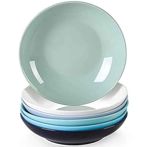 LOVECASA serie Sweet Juego de 6 Platos Hondos Platos de Sopa, Ensaladeras 21cm 550ML Cocina Vajilla de Porcelana Multicolor