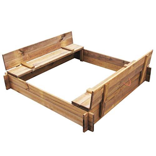 vidaXL Holz Imprägniert Sandkasten mit Deckel Sitzbank Sandkiste Sandbox