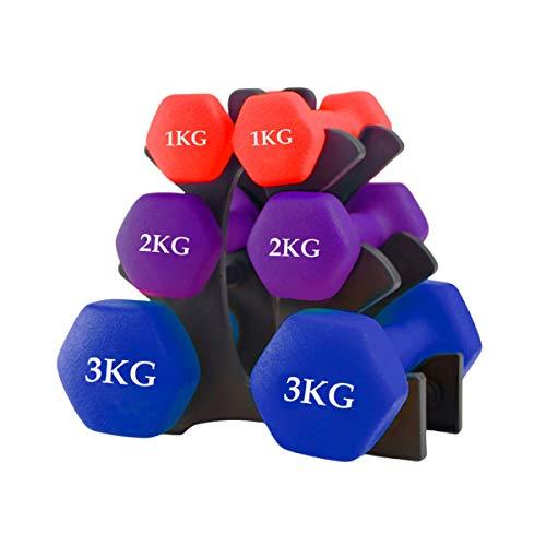 unycos - Juego de Mancuernas con Soporte - Juego de Pesas para Gimnasio en Casa (Pack 1 kg + 2 kg + 3 kg)