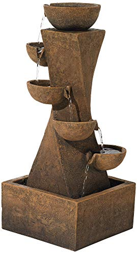"John Timberland Cascading Bowls Rustic Outdoor Floor Water Fountain with Light LED 27 1/2"" High for Yard Garden Patio Deck Home"