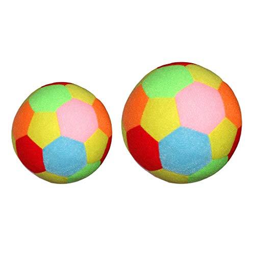 Milageto 2 Piezas de Pelota de Fútbol de Peluche Suave para Niños, Pelota de Tela Colorida, Deportes, 9.5cm + 15.5cm