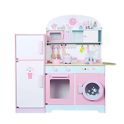 Kinderküche Holz Spielküche Zubehör, Simulation Spiel Pfanne, Backofen, Kochtopf, Küchenhelfern Kombination Herd Kühlschrank Beste Spielzeug Geschenke Für Jungen Und Mädchen
