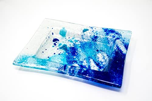 Desconocido Lafiore® Portasapone in vetro | Design versatile per uso decorativo (blu)