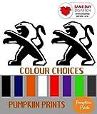 Pumpkiin Prints X2 Peugeot Logo Pare-Chocs Vinyle Autocollant Voiture Autocollants GT Line GTI Couleur Choix 207 208 307