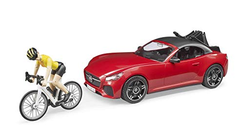 Bruder Toys - Recreational Realistic Roadster Car with Bicycle Rack and Road Bike with Female Cyclist Figure - Car Roof is Removable - Ages 4+